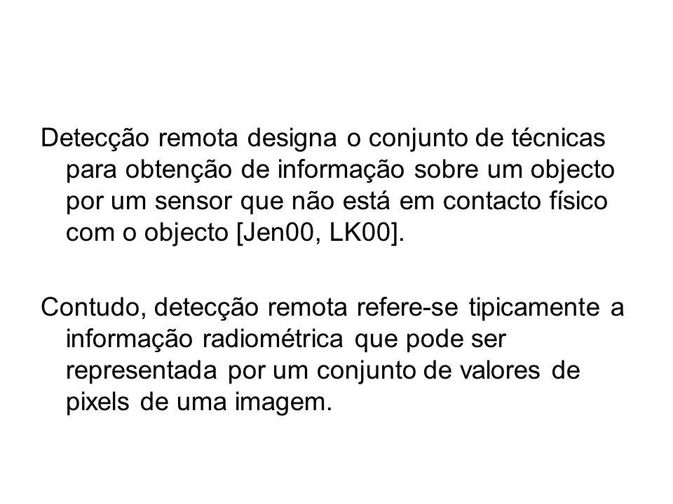 Detecção remota designa o conjunto de técnicas para obtenção de informação sobre um objecto por um sensor que não está em contacto físico com o objecto [Jen00, LK00].